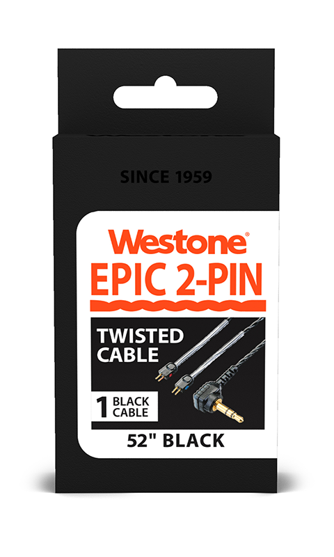 EPIC 2-Pin Replacement Cable - Black - 52 inches