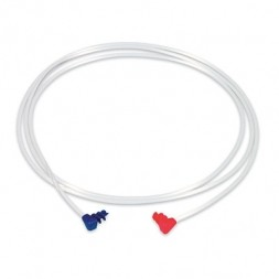 Clear Plastic Cord with Red and Blue Screw Ends
