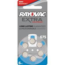 RAYOVAC EXTRA MERCURY FREE ZINC AIR BATTERIES 675
