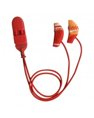 Micro, Binaural (dual), with cord, Red/Orange