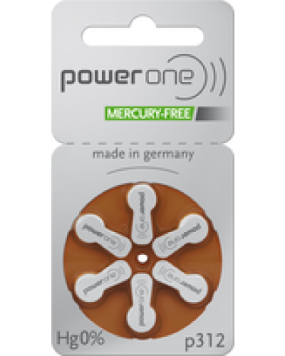Power One Mercury Free Batteries - Size 312 (60 pc)